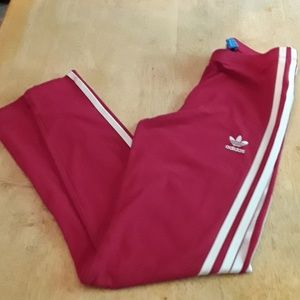 Adidas red and white girls pants
